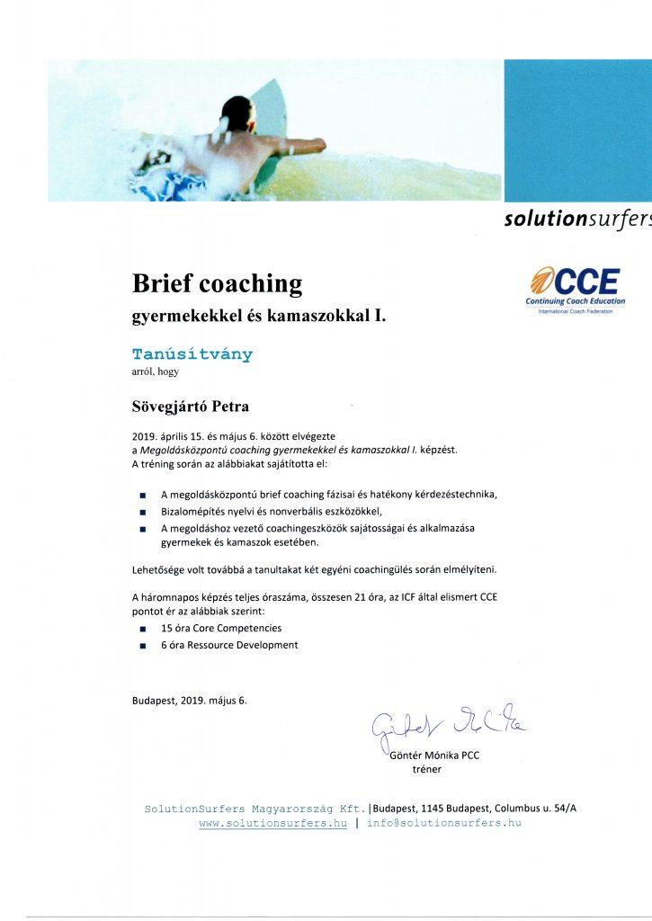 Gyerek coach oklevél